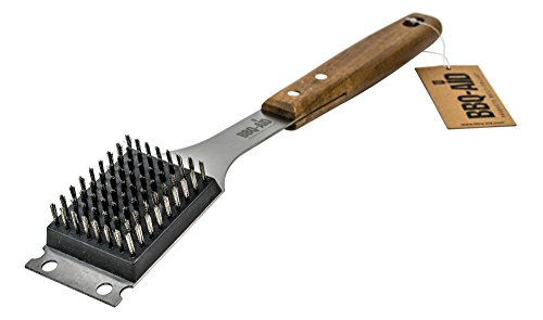 BBQ-Aid Barbecue Grill Brush and Scraper – Extended, Large Wooden Handle and Stainless Steel Bristles – Safe, No Scratch Cleaning - Best for Any Grill: Char Broil & Ceramic – Easy Replaceable Head