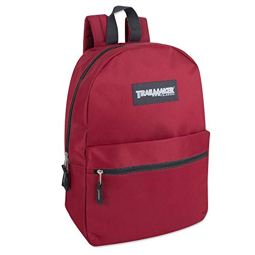 Classic Traditional Solid 17 Inch Backpacks with Adjustable Padded Shoulder Straps (Red)