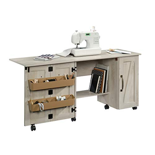 Better Homes & Gardens Modern Farmhouse Wood Sewing Table, Rustic White