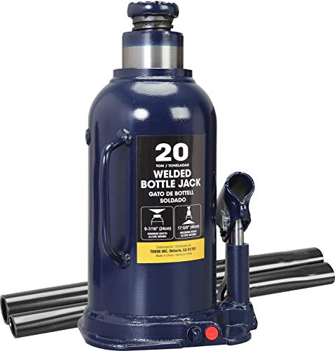 TCE AT92003BU Torin Hydraulic Welded Bottle Jack, 20 Ton (40,000 lb) Capacity, Blue