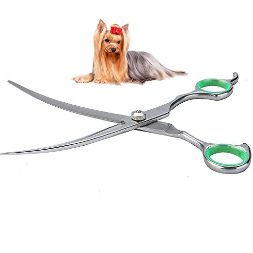 LovinPet Pet Grooming Scissors Professional Dog Cat Grooming Shears with Round Tip Stainless Steel Strong and Sharp Blade Heavy Duty Thinning Curved Cutting Straight Tool Set