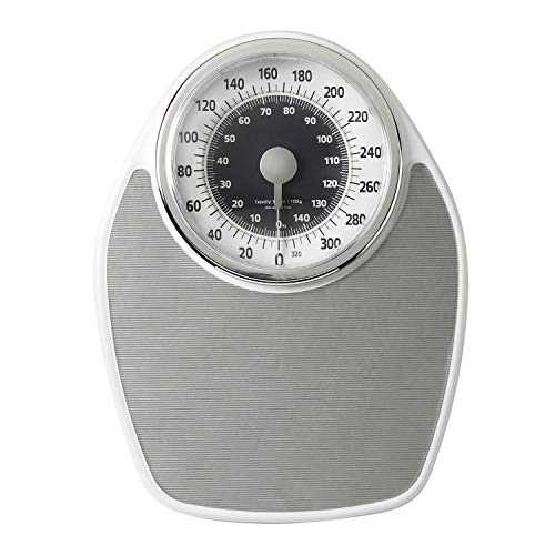 InstaTrack Large Dial Metal Analog Bathroom Scale with Silver Mat – Accurate Measurements up to 330 Pounds, Battery Free