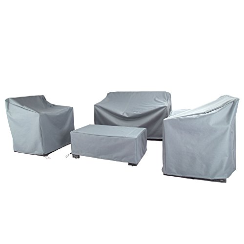 Baner Garden N87 4-Piece Outdoor Veranda Patio Garden Furniture Cover Set with Durable and Water Resistant Fabric (Grey)