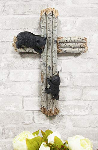 Ebros Gift 17' Tall Large Rustic Western 2 Playful Climbing Black Bears On Birch Tree Wall Cross Decor Hanging Sculpture Catholic Christian Country Bear Cubs Cabin Lodge Accent Decorative Crosses