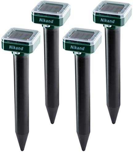 NIKAND Solar Mole Repellent Ultrasonic 4 Pack Outdoor Powered Sonic Deterrent - Mole Stopper Scare Vole for Lawn Garden & Yard Home - Groundhog Repeller Snake Rodent Gopher Spikes Chaser Pest Control