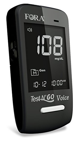 FORA Test N'GO Voice Bluetooth Blood Glucose Meter with Talking Capability, App Compatibility with iOS and Android, Large LCD Backlight Display, Precision Measurement for Your Diabetic Diet
