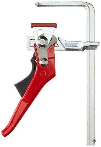 Bessey GTR16S6H All Steel Ratcheting Table Clamp with 6 5/16' Capacity x 2 5/16' Throat Depth & 540 lb Clamping Force, Red/Silver