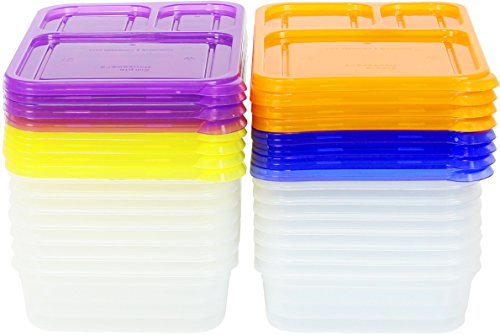 Color Reusable 3-Compartment Container (16 Pack)