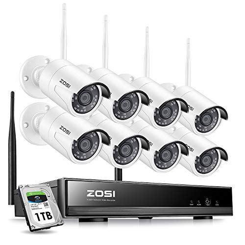 ZOSI 8CH 1080P Wireless Security Cameras System With 1TB Hard Drive,H.265+ 8Channel 1080P NVR and 8PCS 1080P 2.0MP Weatherproof Home Video Surveillance Cameras with Night Vision