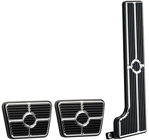 NEW BILLET SPECIALTIES BLACK ANODIZED 58-67 CHEVY PEDAL KIT FOR MANUAL TRANSMISSIONS INCLUDING GAS PEDAL ASSEMBLY, CLUTCH PAD, AND BRAKE PAD, 63-67 CHEVY II, CHEVELLE, 58-64 BEL AIR, BISCAYNE, IMPALA