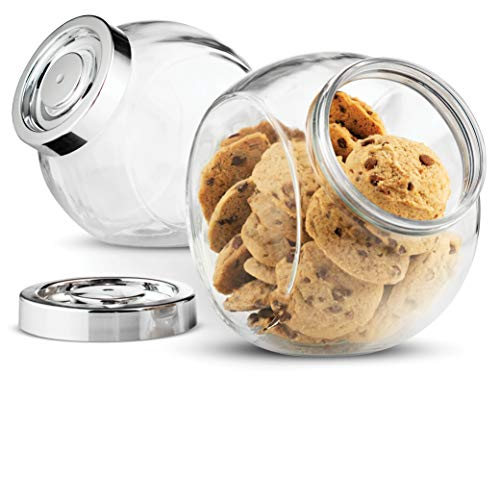 Bormioli Rocco Pandora Glass Candy Jar 75  Ounce Cookie Jar (2 Pack) with Plastic Airtight Seal Lid 2 Ways Display, Bulk Food Storage Jar for Snacks, Dry Food, Jelly Beans Canister, Apothecary Jars