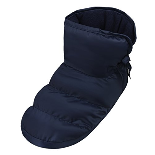 Unisex Winter Quilted Down Ankle Bootie House Slippers Warm Cozy Indoor Slippers Dark Blue