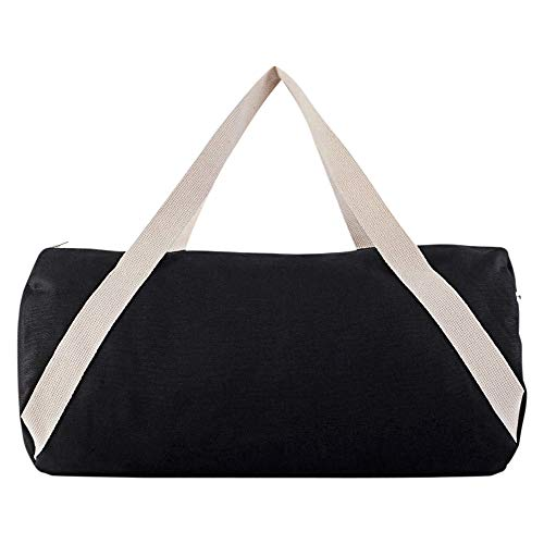 American Apparel Unisex Cotton Canvas Gym Bag, Black/Natural, One Size