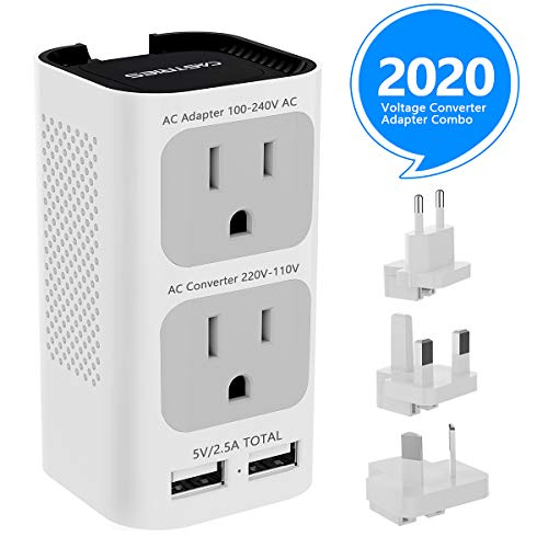Castries Voltage Converter Travel Adapter Combo, 2020 Upgraded Travel Converter Power Step Down 220V to 110V with 2 USB Port and EU/UK/AU/US Plug International Power Adapter for Over 200 Countries