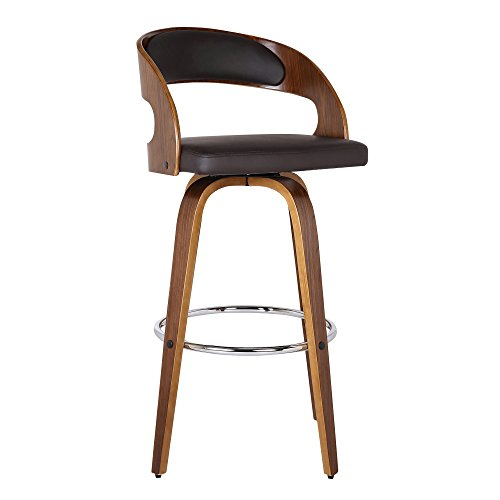 Armen Living Shelly 26' Counter Height Barstool in Brown Faux Leather and Walnut Wood Finish