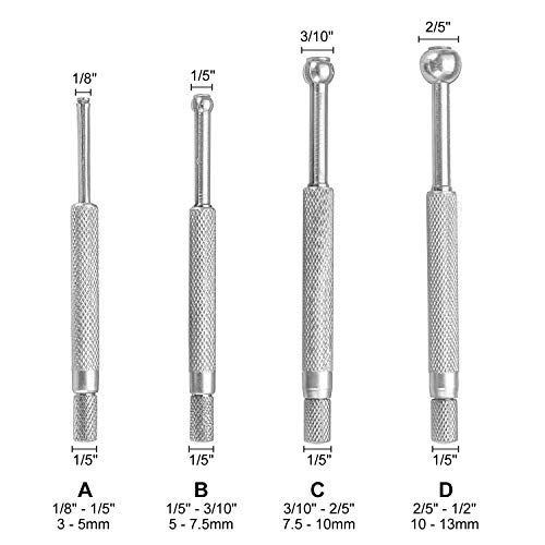 HFS (R) 4 pc Full-Ball Small Bore Hole Precision Gage Gauge Set