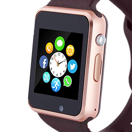 Smart Watch, Smartwatch Phone with SD Card Camera Pedometer Text Call Notification SIM Card Slot Music Player Compatible for Android Samsung Huawei and iPhone (Partial Functions) for Men Women Teens