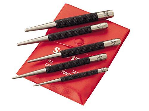 """Starrett S117PC Set of 5 Center Punches, 1/16', 5/64"""", 3/32"""", 1/8"""", 5/32' Diameters, in Plastic Case"""