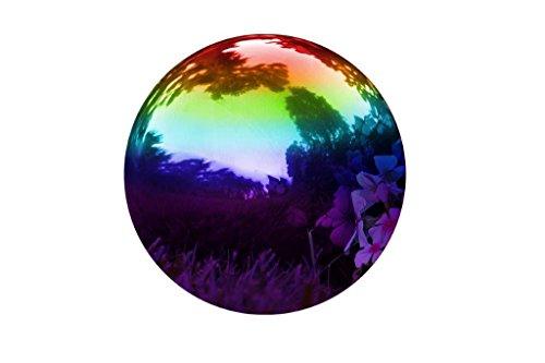 Trademark Innovations Stainless Steel Rainbow Gazing Mirror Ball, 10', Rainbow
