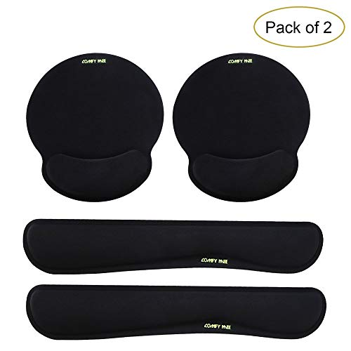 Comfy Mee Premium Memory Foam Keyboard and Mouse Wrist Rest Pads Set- for Comfortable Typing &Wrist Pain Relief (Pack of 2)