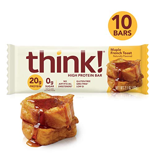 think! (thinkThin) High Protein Bars - Maple French Toast (Maple Almond), 20g Protein, 0g Sugar, No Artificial Sweeteners, Gluten Free, GMO Free, 2.1 oz bar (10 Count - packaging may vary)