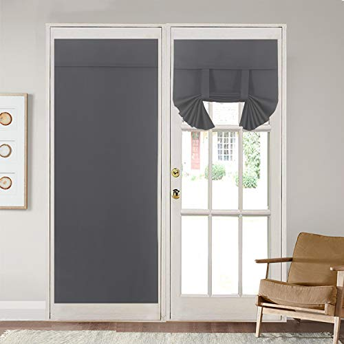 Rose Home Fashion Blackout Door Curtains for Privacy, Thermal Insulated Door Curtain Panels,Blackout French Door Window Curtains, Energy Efficient Curtain Draperies(26' x 68' 2pcs: Dark Grey)