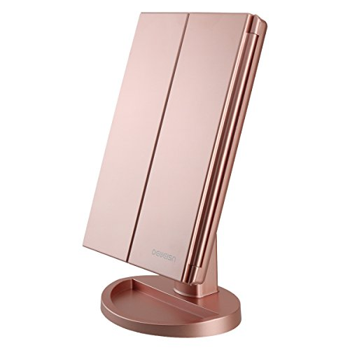 deweisn Tri-Fold Lighted Vanity Makeup Mirror with 21 LED Lights,3X/2X Magnification Mirror,Touch Sensor Switch, Two Power Supply Mode Tabletop Makeup Mirror,Travel Cosmetic Mirror