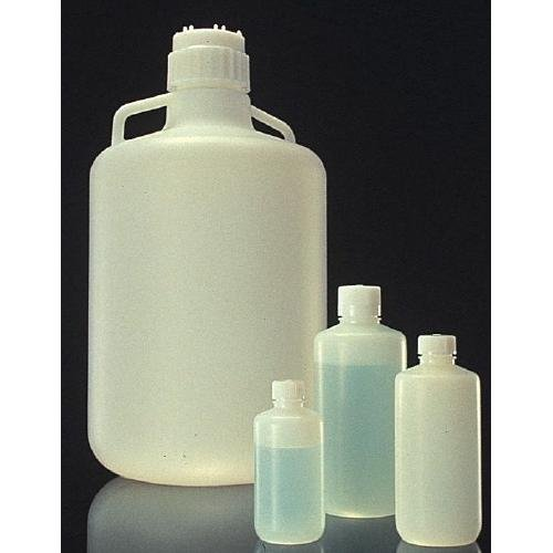 Nalgene 2097-0032 HDPE Fluorinated Narrow Mouth Bottle with PP Screw Closure, 1L Capacity (Case of 24)