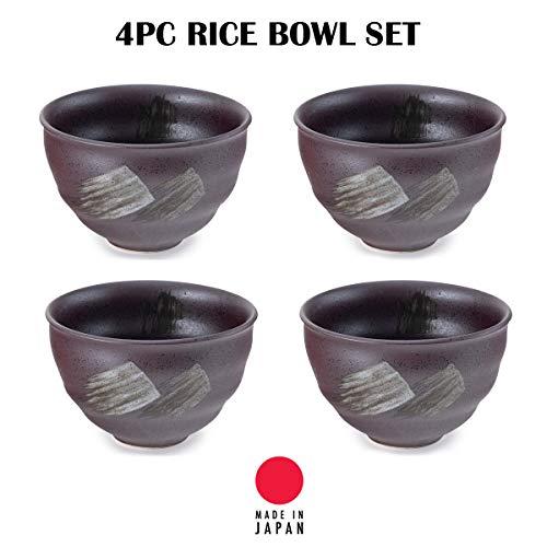 Hinomaru Collection Japanese Minoyaki Porcelain 4.5 Inch Ochawan Rice Bowl Set of 4 Traditional Earthenware Glaze Brush Stroke Design Multi Purpose Japanese Household Use Made in Japan (Dark Brown)