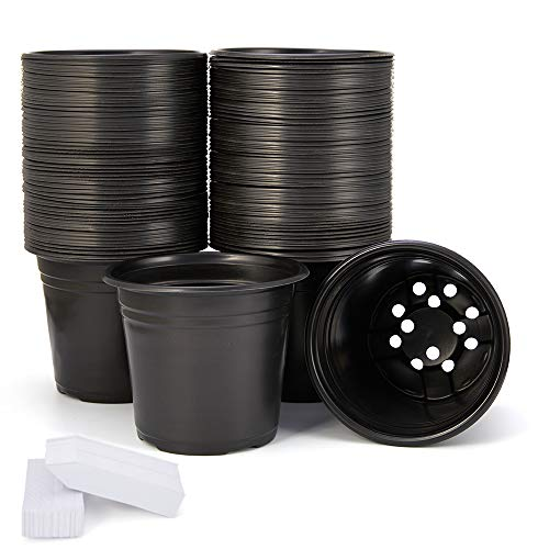 JERIA 100-Pack 0.5 Gallon Plant Nursery Pots, Plastic Pots for Flower Seedling, Flower Plant Container Seed Starting Pot, Come with 100 Pcs Plant Labels
