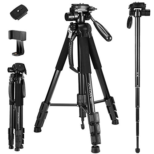 72-Inch Camera Tripod, Aluminum Tripod & Monopod for DSLR Cameras, Phone Mount for Smartphones with 2 Quick Release Plates and Convenient Carrying Case Ideal for Travel and Work - MH1 Black