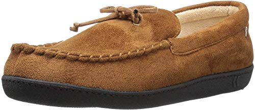 isotoner Men's Whipstitch Gel Infused Memory Foam Moccasin, Cognac, 8-9