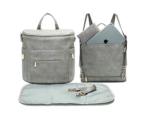 Leather Diaper Bag Backpack by Miss Fong, Diaper Bag with Changing Pad, Diaper Bag Organizer,Stroller Straps and Insulated Pockets(Rusty Grey-Convertible)