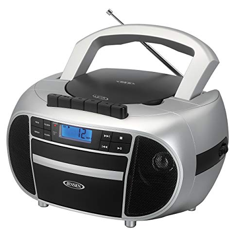 Jensen CD-550SMP3 Top-Loading Boombox CD/MP3 Black Series CD/MP3 AM/FM Radio Cassette Player, and Recorder Boombox Home Audio, Aux, Headphone Jack (Silver)