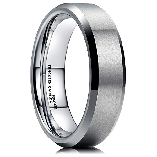 King Will 6MM Wedding Band For Men Tungsten Carbide Engagement Ring Comfort Fit Beveled Edges (8.5)