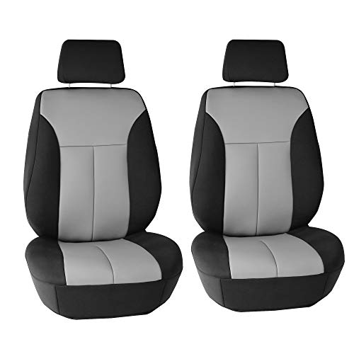 FH Group FB091102 Neoprene Ultra-Flex Seat Covers (Gray) Front Set with Gift – Universal Fit for Cars Trucks & SUVs