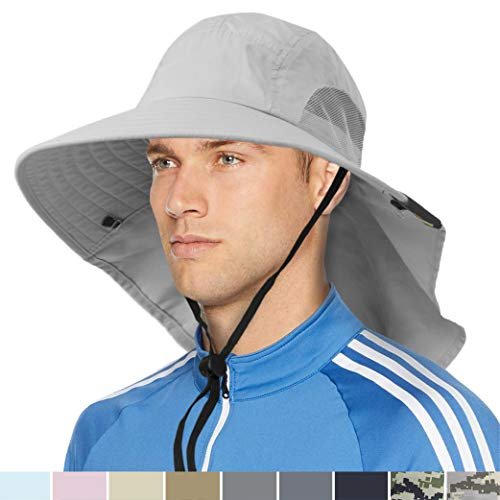 Wide Brim Sun Hat with Neck Flap, Sun Protection Hat for Men for Hiking Fishing Light Grey