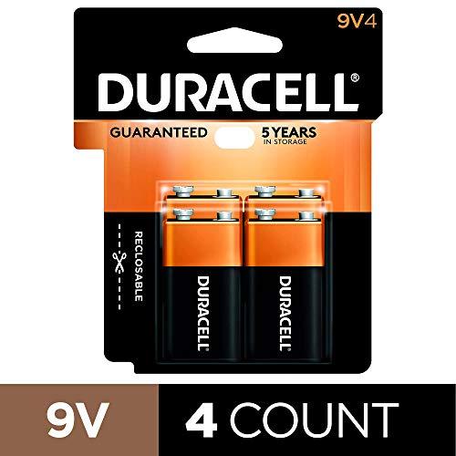 Duracell Coppertop 9V Batteries, Alkaline, 4 Count