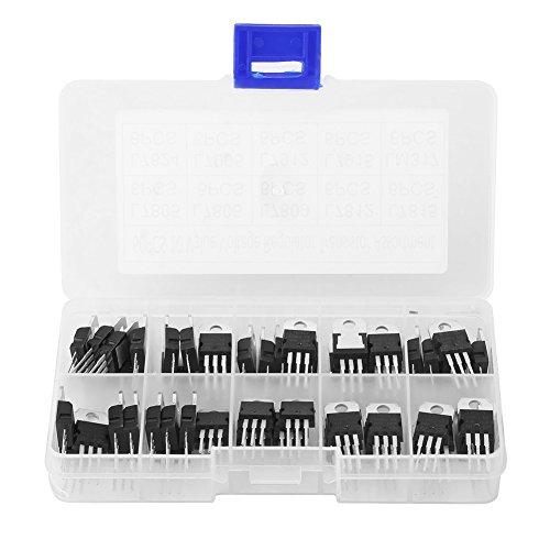60pcs 10 Values TO-220 Power Transistor Assortment Triode Voltage Regulator Stabilizer Kit Set (L7805CV/ L7806/ L7809/ L7812/ L7815/ L7824/ L7905/ L7912/ L7915/ LM317t) with Plastic Storage Box
