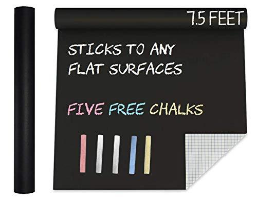 Extra Large Black Chalkboard Contact Paper Vinyl Wall Decal Poster (7.5 FEET) Blackboard Roll Adhesive Chalk Board Paint Alternative w/Bonus Chalks - Peel and Stick DIY Wallpaper Sizes 17.8' X 90.5'