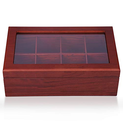 Apace Living Tea Box - Luxury Wooden Tea Storage Chest from The Premier Collection - 8 Adjustable Compartment Tea Bags Organizer Container - Elegantly Handmade w/Scratch Resistant Window