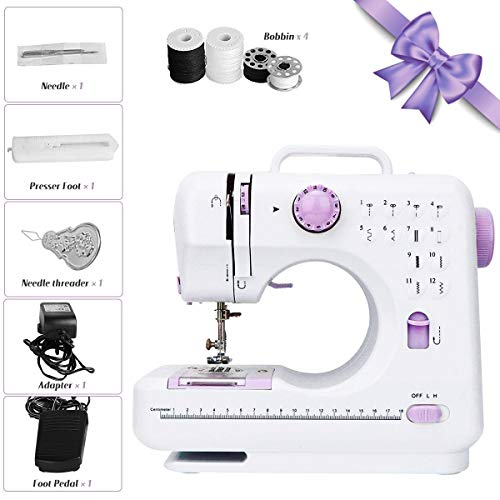 Portable Sewing Machine with 12 Floral Stitches, Household Electric Sewing Machine with Embroidery & Foot Pedal, 505A Hand-held Tailor Machine for Adult & Kids Beginners DIYer, Purple
