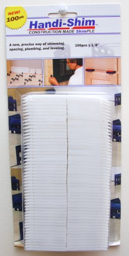 Handi-Shim HS18100WH Plastic Construction Shims/Spacers, 100 Pack, 1/8-Inch, White