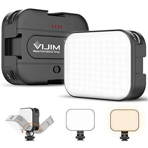 VIJIM VL-100C LED Video Light with Adjustable Stand, 2500K-6500K Bi-Color Ultra Bright Camera Lighting for Smartphone/Camera/Laptop Vlogging, Video Shooting, Photography
