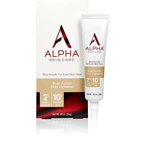 Alpha Skin Care Dual Action Skin Lightener | Anti-Aging Formula | 2% Hydroquinone & 10% Gycolic AHA | Diminishes Dark Spots | Reduces the Appearance of Lines & Wrinkles | For All Skin Types | 0.85 Oz