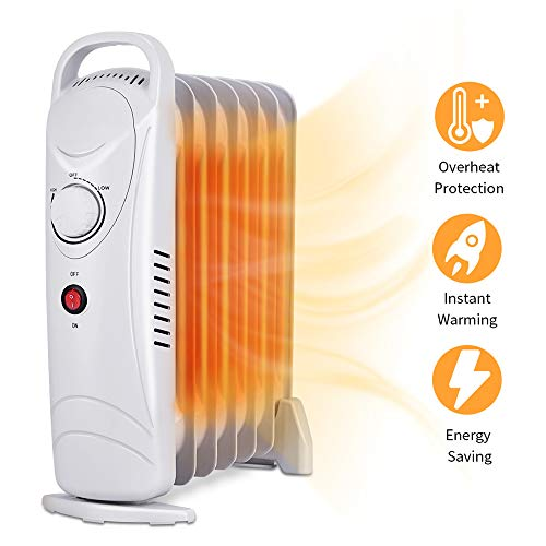 Oil Heater - Oil Filled Radiator Heater Portable Heater with Programmable Thermostat, 700W Space Heater, Tip Over&Overheating Functions, Quiet Oil Space Heater Radiant Heater for Home Office