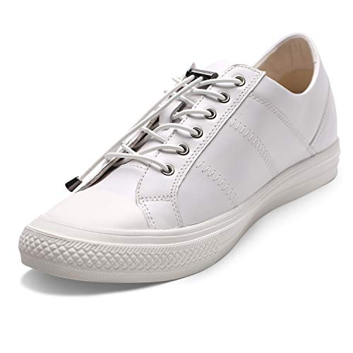 CHAMARIPA Men's Invisible Height Increasing Elevator Shoes-Sneakers Genuine Leather Casual Shoes-2.36 Inches Taller H81C89K012D White