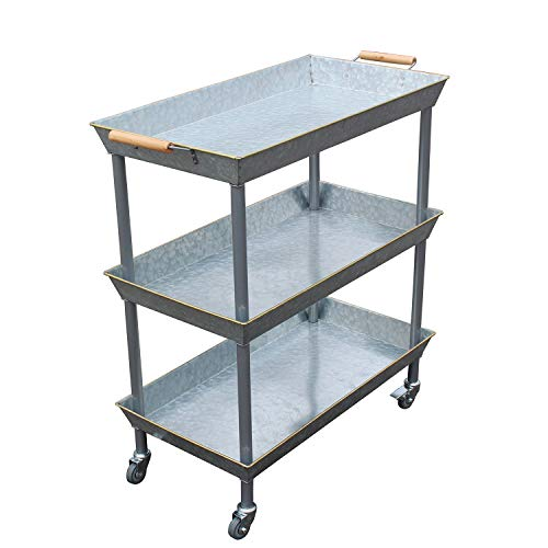 4W Bar Cart 3 Tier Utility Cart with Wheels, Galvanized Metal Bar Carts for The Home,Kitchen,Restaurant, Outdoor Serving Cart with Locking Wheels and Handle, Vintage Country Décor