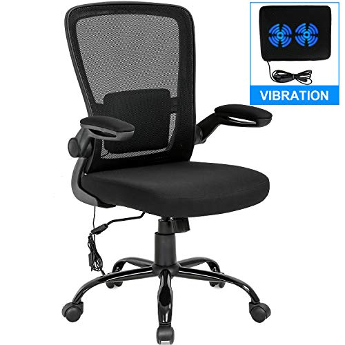 Home Office Chair Ergonomic Desk Chair Mesh Computer Chair Swivel Rolling Executive Task Chair with Lumbar Support Arms Mid Back Adjustable Chair for Adults, Black