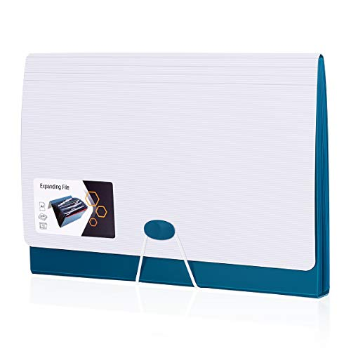 13 Pockets Expanding File Folder ActFaith File Jacket Filing Wallets Organisers for A4 Letter Size Accordion File Organizer Document with Tabs Paperwork Storage Bag for School Office Home (Blue)
